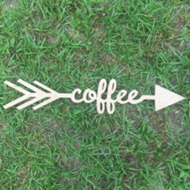 Arrow with word inside (coffee) DIY Unfinished Craft Shapes