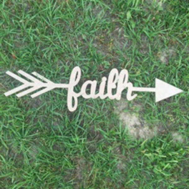 Arrow with word inside (faith) DIY Unfinished Craft Shape