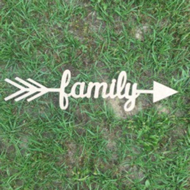 Arrow with word inside (family) DIY Unfinished Craft Shape