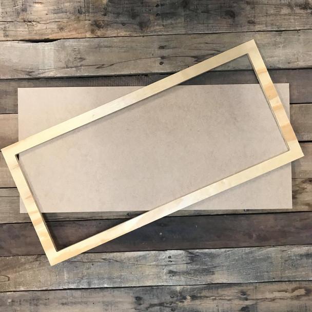 Unfinished 12 x 26 Pine Framed Sign