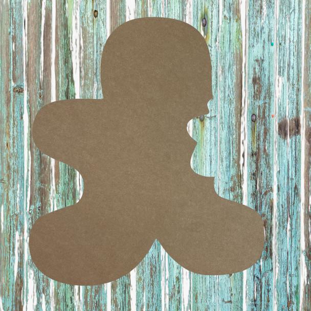 Bitten Gingerbread Man with feet Unfinished Cutout, Wooden Shape