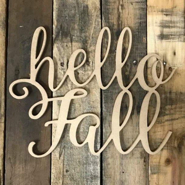 Unfinished Wooden Connected Word-Hello Fall