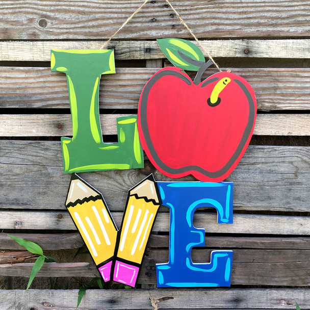 Love Apple Sign Unfinished Wall Art Wooden DIY Craft MDF