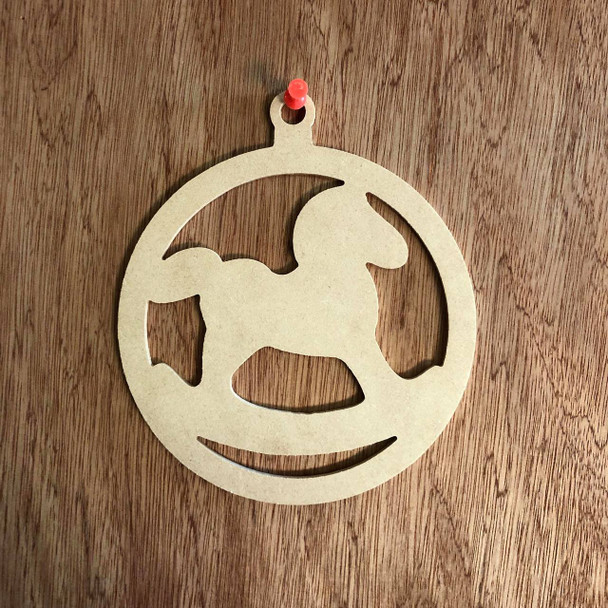 Christmas Ornament With Rocking Horse Shape Unfinished Cutout