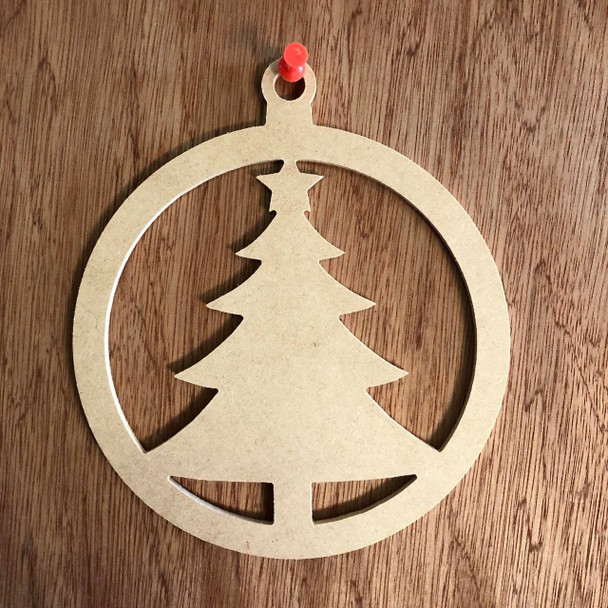 Christmas Ornament With Christmas Tree Shape Unfinished Cutout