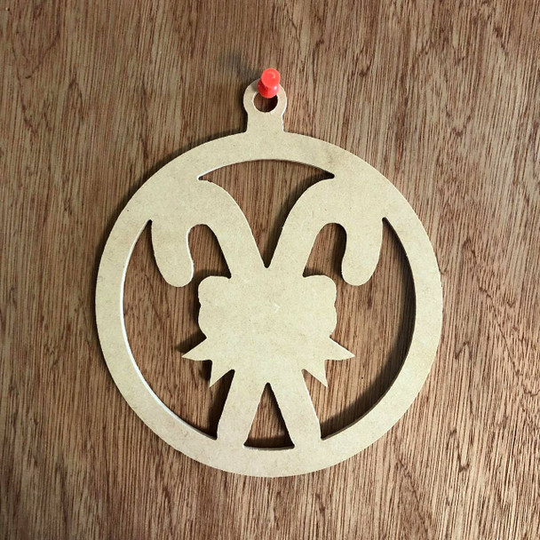 Christmas Ornament With Double Candy Canes Shape Unfinished Wood