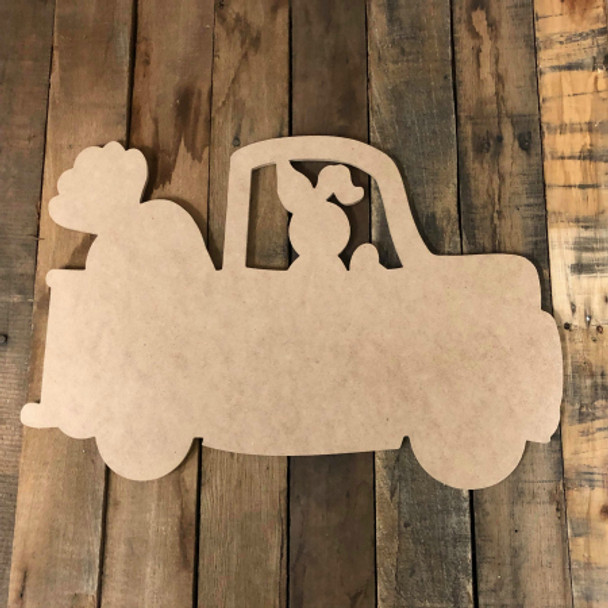 Bunny Truck With Carrot, DIY Unfinished Valentines Shapes