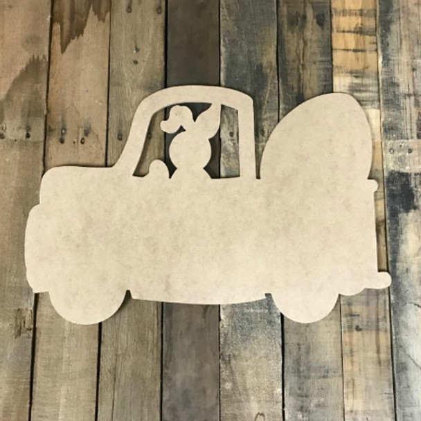 Bunny Truck With Egg, DIY Unfinished Wooden Valentines Shapes