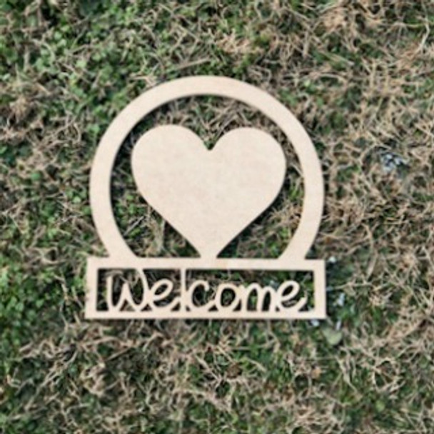 Wooden Valentine's Day Welcome Sign Heart, Unfinished Craft Door Hanger