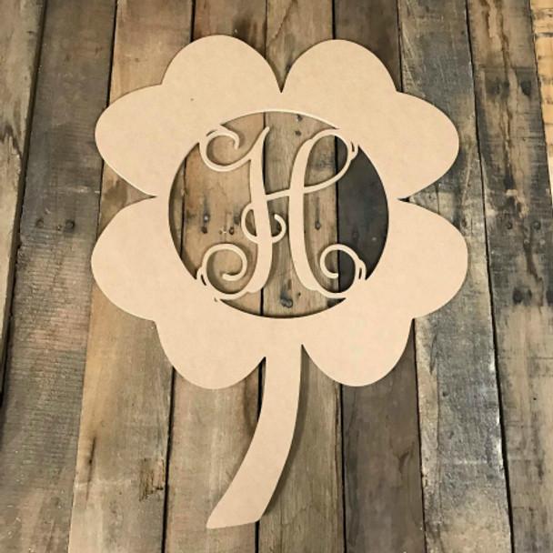 4 Leaf Clover Framed Monogram Letter Unfinished DIY Craft