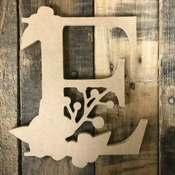 Wooden Floral Font Unfinished DIY Flower Letters Wooden Letter Decal