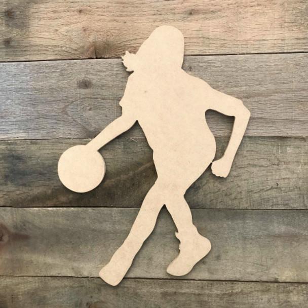 Woman Basketball Player Dribbling  Wooden Sport Shape MDF