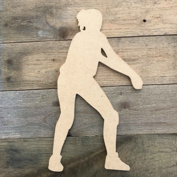 Volleyball Player Woman Assist Serve Wooden Unfinished Shape