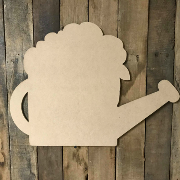 Flower Watering Can Wooden Shape, Paintable Wooden MDF