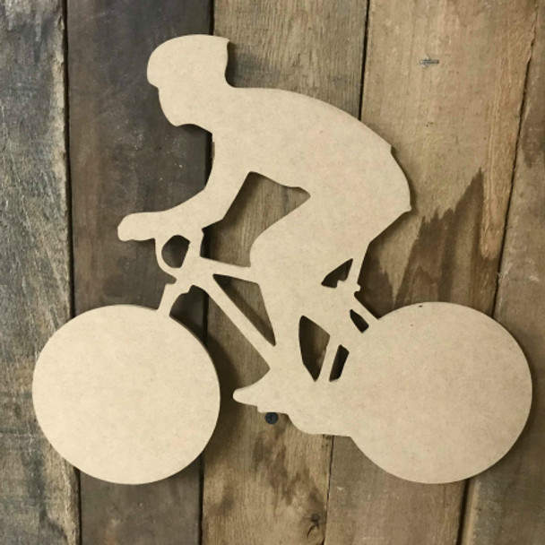 Mountain Biker Riding Unfinished Wood Sport Craft Shape