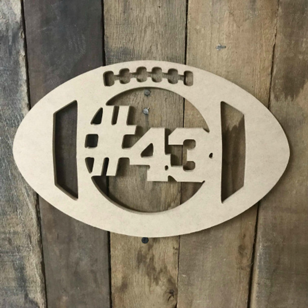 Football Number  Unfinished Framed Monogram
