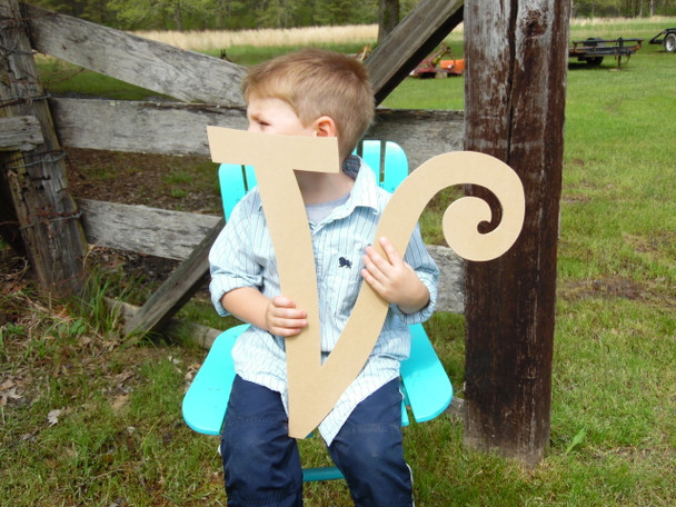 Wooden Cut Out Letters Unpainted Letters (V) Curlz Custom Wood Letters