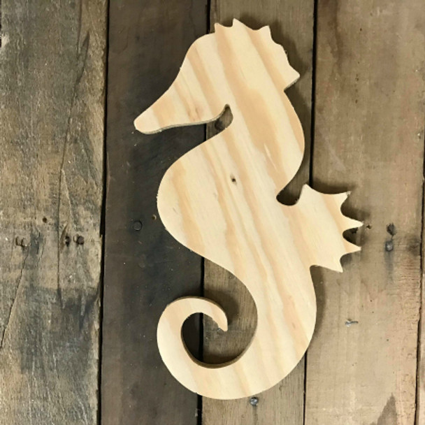 Wood Pine Cutout, Seahorse, Unfinished Wood Shape, DIY Craft