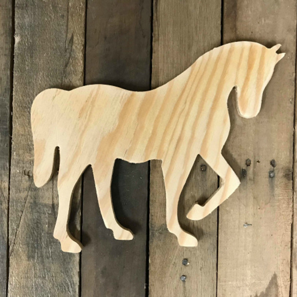Wooden Pine Cutout, Horse, Unfinished Wood Shape, DIY Craft