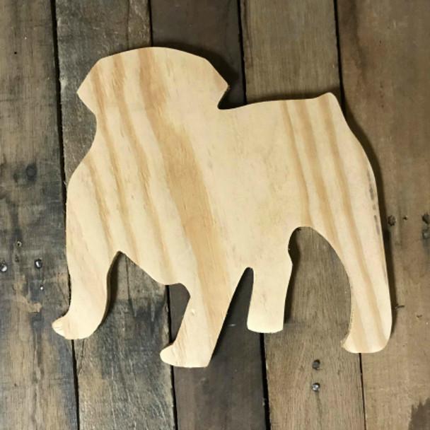 Wooden Pine Cutout, Bulldog, Unfinished Wood Shape, DIY