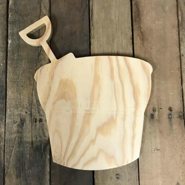Wooden Pine Shape, Sand Bucket, Unpainted Wood Cutout Craft