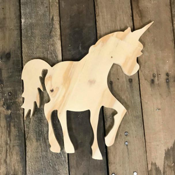 Wood Pine Shape, Unicorn, Unpainted Wood Cutout Craft