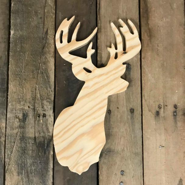 Wood Pine Shape, 10 Point Buck, Unpainted Wood Cutout