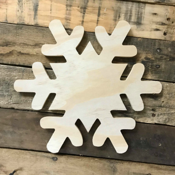 Wood Pine Shape, Snowflake 2, Unpainted Wooden Cutout DIY
