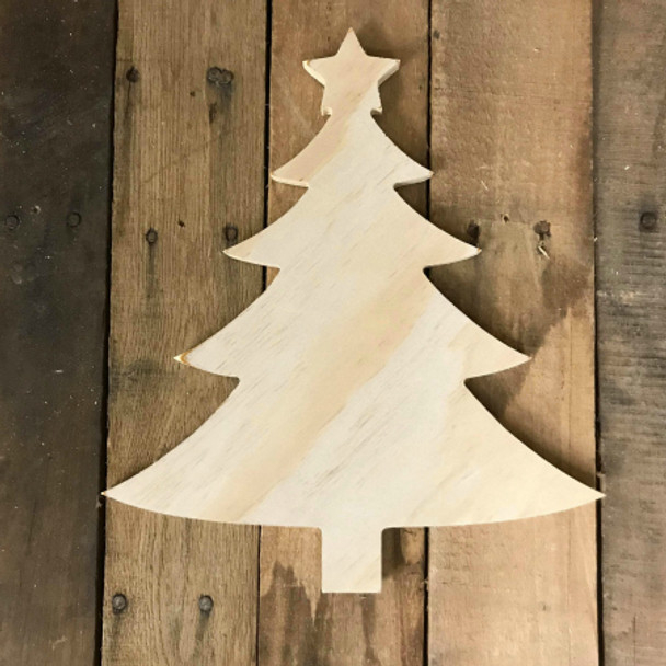 Wood Pine Shape, Christmas Tree With Star, Unpainted Wooden Cutout DIY