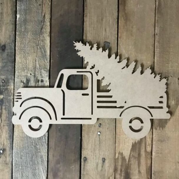 Truck with Christmas Tree Cutout
