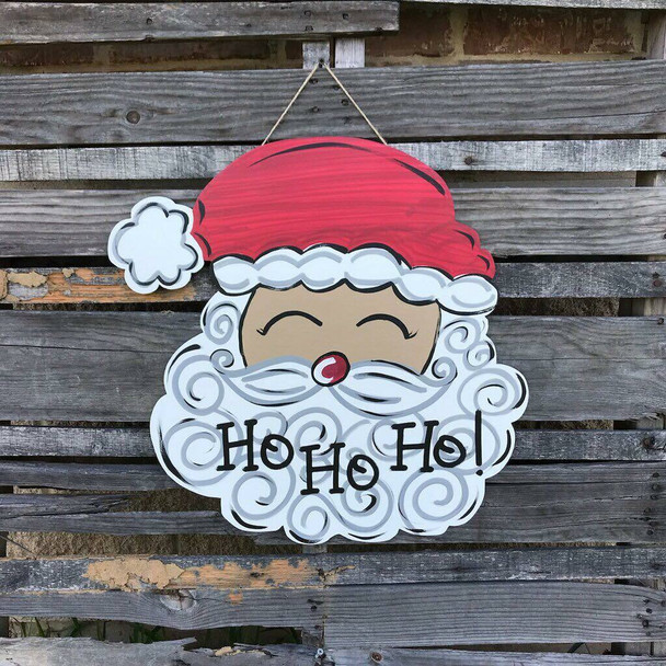 Santa Head with Hat Unfinished Wood Cut out