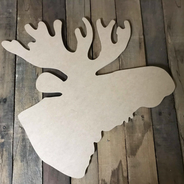 Moose Head 2,  Unfinished Wood Shape, DIY, Shapes Cut out