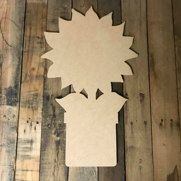 Sunflower in Pot, Unfinished Wood Shape, Fall Cutout