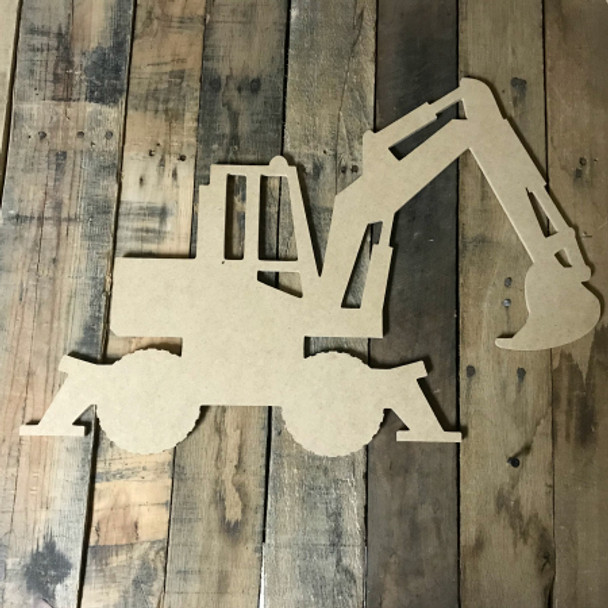 Backhoe, Craft Unfinished Wood Shape, Wood Cutout