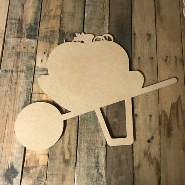 Wheelbarrow with Pumpkin, Unfinished Wood Shape, Wood Cutout