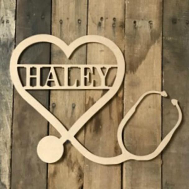 Nurse Family Name, Unfinished Framed Monogram, Wood Letter