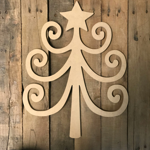 Loop Christmas Tree, Unfinished Wood Shape, Wood Cutout