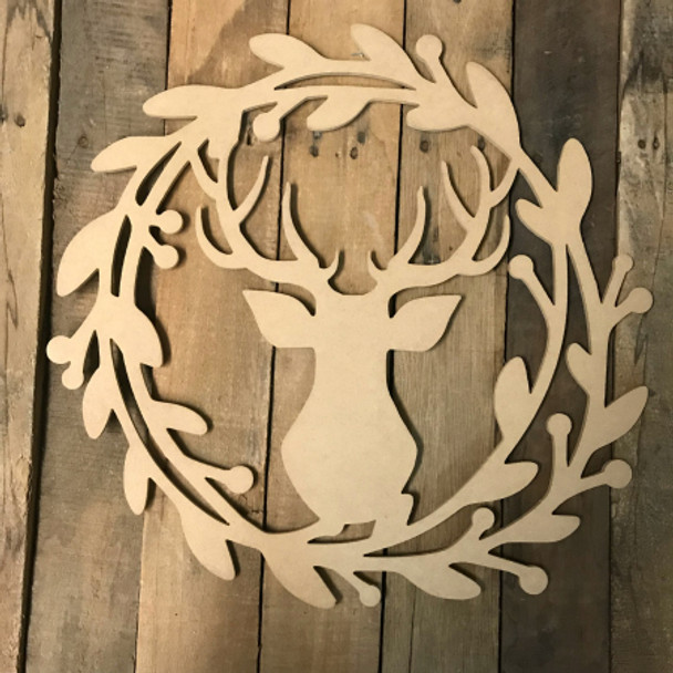 Holly Wreath with Deer  (MDF) Cutout