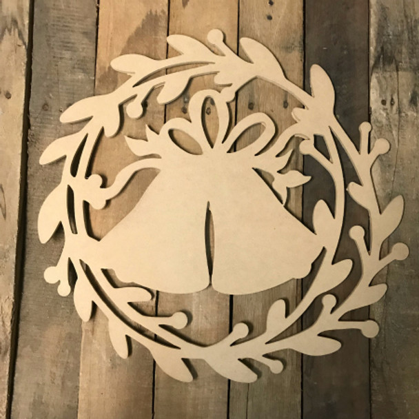 Holly Wreath with Bells  (MDF) Cutout