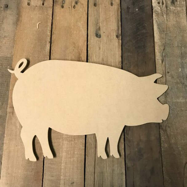 Wooden Pig Cutout Wooden Paintable Shape