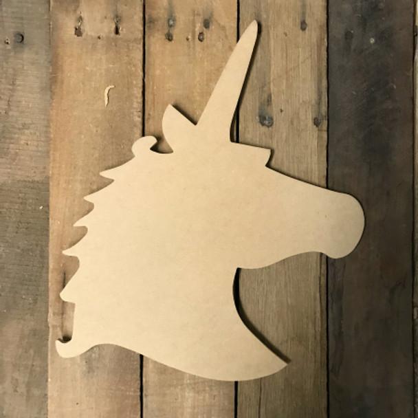 Wooden Unicorn head Cutout, Wooden Paintable Shape