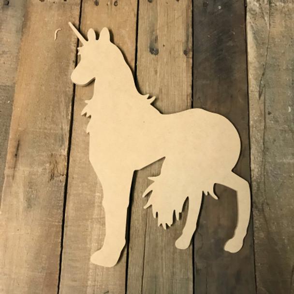 Wooden Unicorn Cutout, Wooden Unicorn Paintable Shape