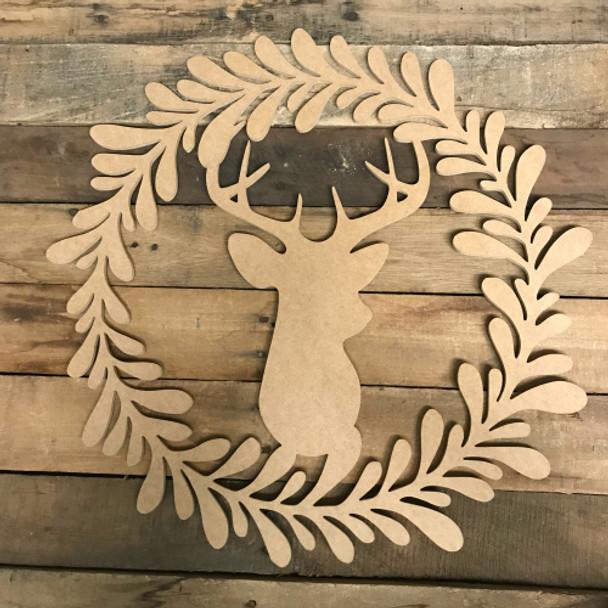 Deer in Wreath Wood DIY (MDF) Cutout - Unfinished DIY Craft