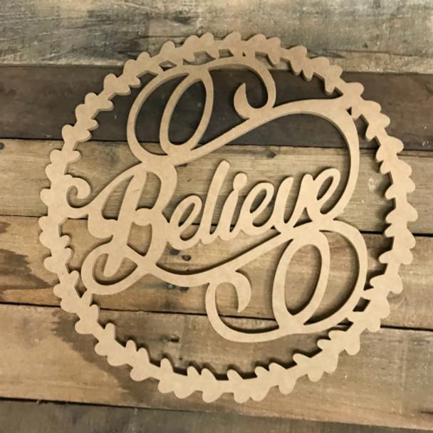 Believe Wreath Wood DIY (MDF) Cutout - Unfinished DIY Craft