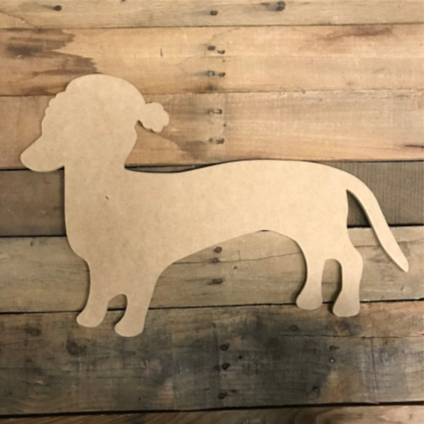 Weenie Dog With Christmas Hat, Unfinished Cutout, Craft Wood Shape