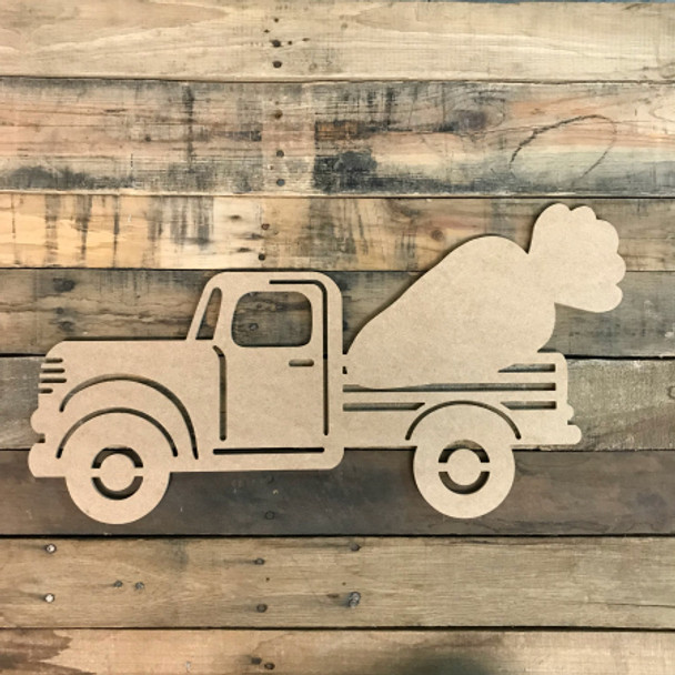 Truck with Carrot Cutout Unfinished Wooden Cutout Craft