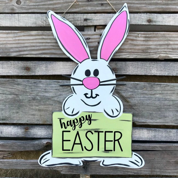 Happy Easter Bunny, Paintable Shape, Unfinished Cutout, Craft Wood