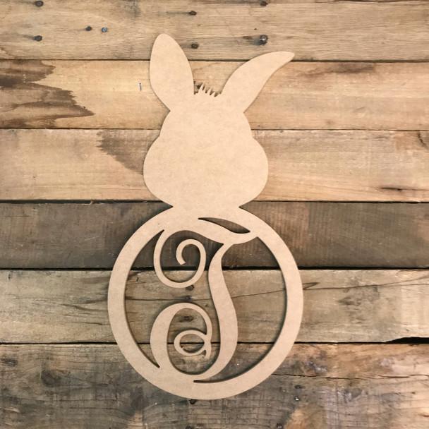 Wood Bunny Cursive Monogram Wall Decor Paint-able Cutout