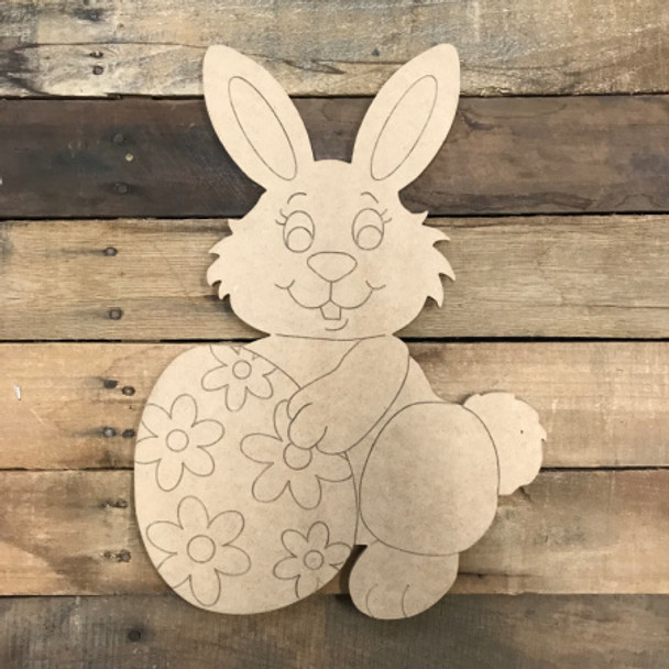 Easter Bunny with Egg DIY, Unfinished Wood Cutout, Paint by Line