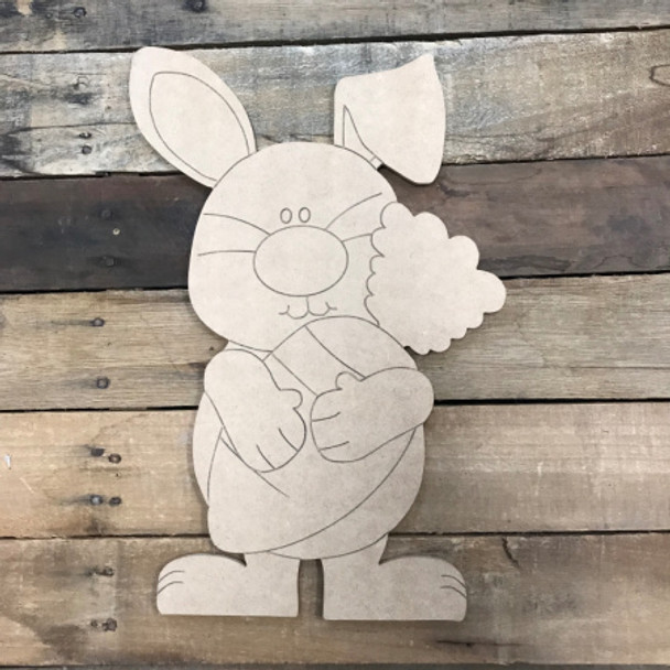 Easter Bunny with Carrot DIY, Unfinished Wood Cutout, Paint by Line